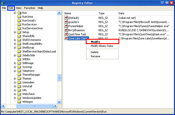 Manual removal of malicious registry entries