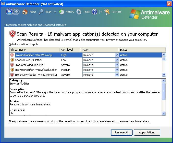 Antimalware Defender graphical user interface