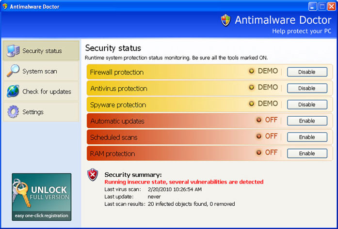 Antimalware Doctor graphical user interface