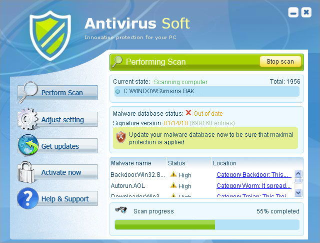 Antivirus Soft graphical user interface