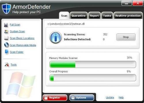 ArmorDefender graphical user interface