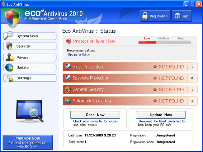 Eco AntiVirus 2010 graphical user interface