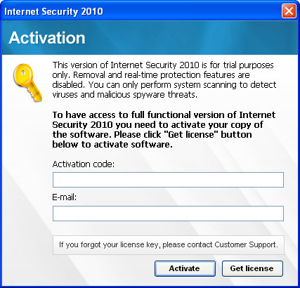 Internet Security 2010 - activation pop up