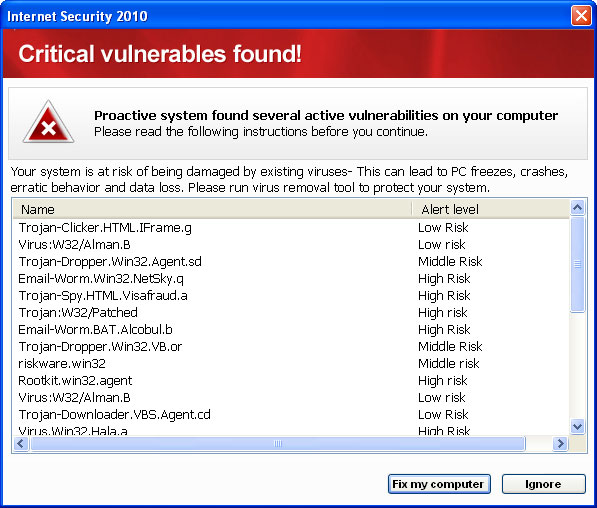 Remove Internet Security 2010