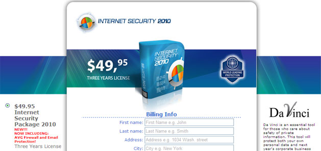 Internet Security 2010 - purchase page