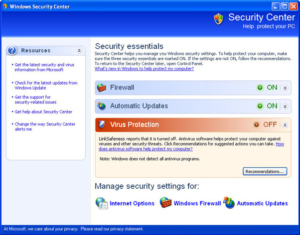 LinkSafeness - fake Windows Security Center