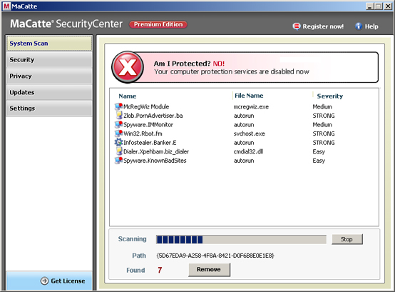 MaCatte Antivirus 2009 graphical user interface