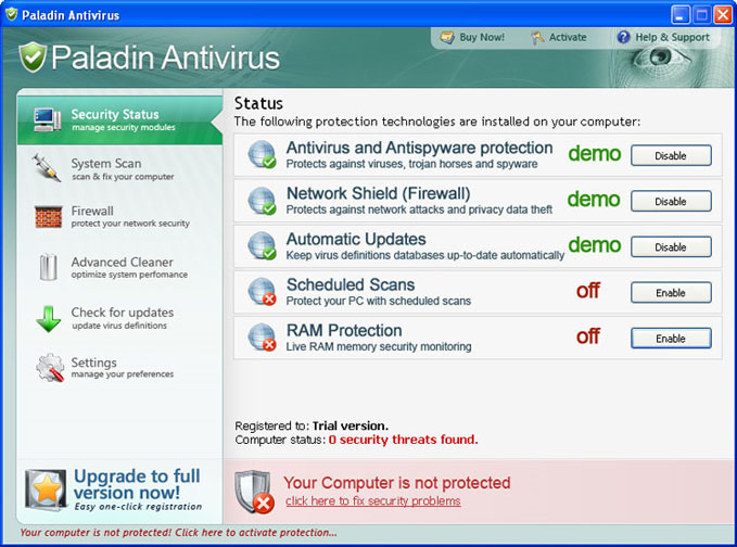 Paladin Antivirus graphical user interface