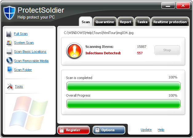 ProtectSoldier graphical user interface