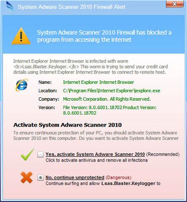 System Adware Scanner 2010 Firewall Alert