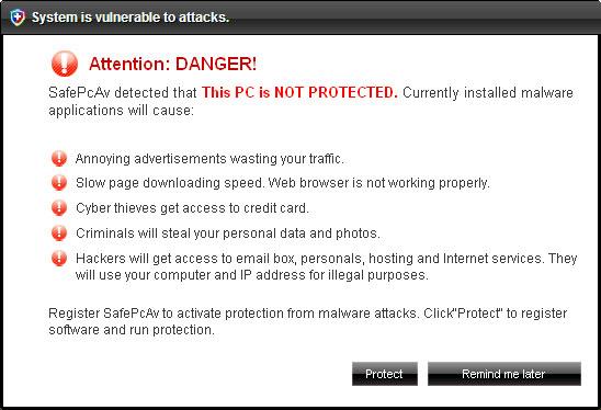 SafePcAv fake security alert