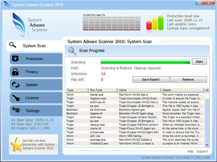 System Adware Scanner 2010 graphical user interface