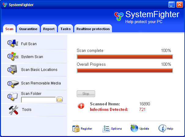 SystemFighter graphical user interface