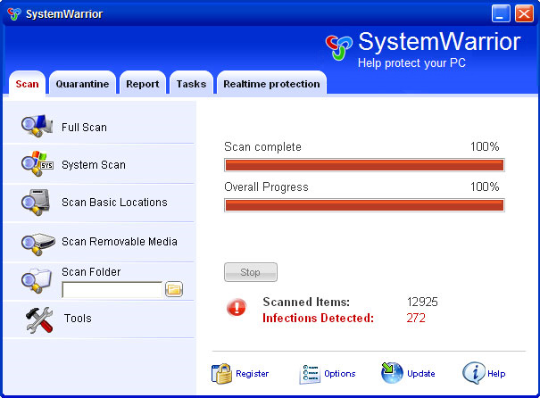 SystemWarrior graphical user interface