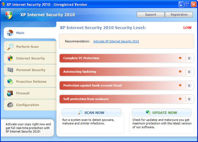XP Internet Security 2010 graphical user interface