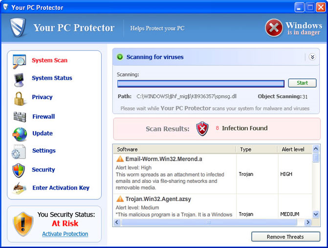 Your PC Protector graphical user interface