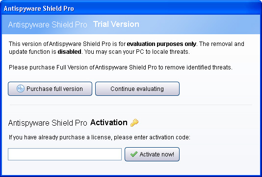 Antispyware Shield Pro activation window