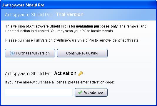 Antispyware Shield Pro activation window