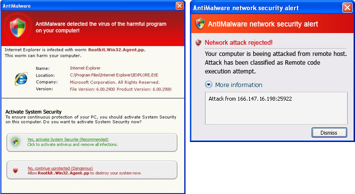 AntiMalware fake security alerts