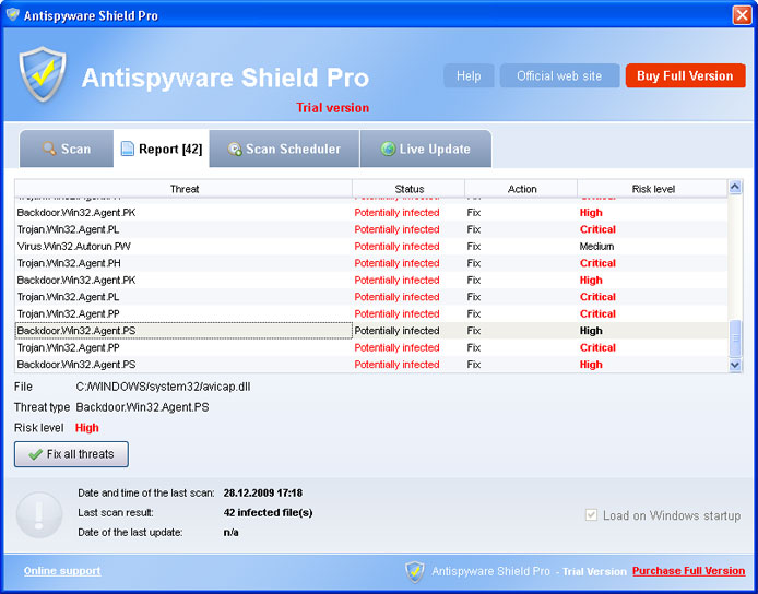 Antispyware Shield Pro graphical user interface