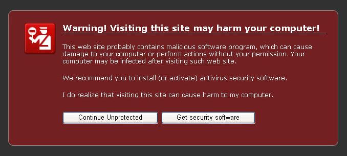 Antivir - fake Internet Explorer warning