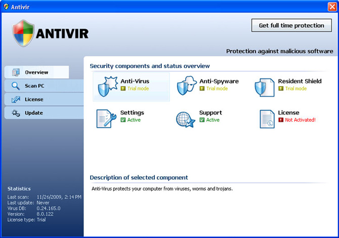 Antivir graphical user interface