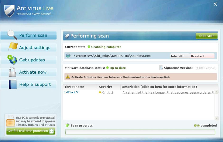 Antivirus Live graphical user interface