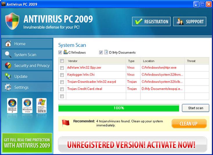 Antivirus PC 2009 graphical user interface