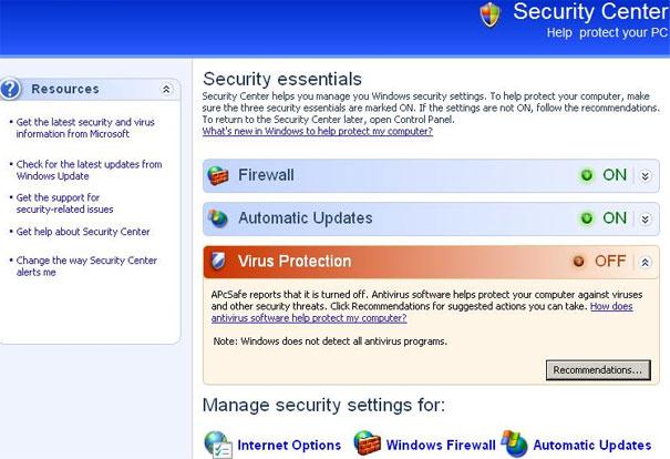 Fake APcSafe security center