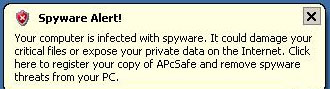 Fake APcSafe spyware alert