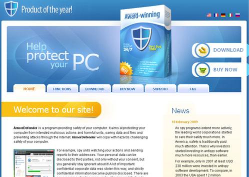 Armordefender.com screenshot