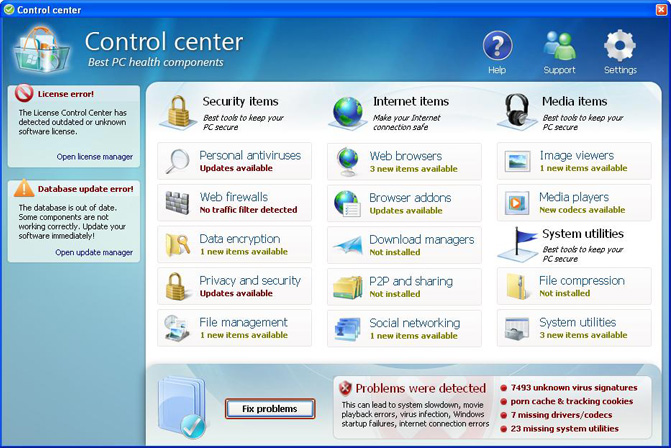 Control Center graphical user interface
