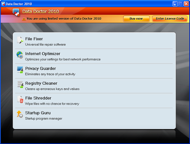 Data Doctor 2010 graphical user interface