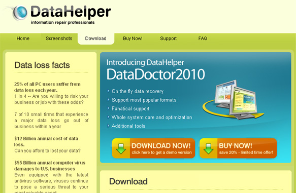 Datahelpercorp.com - Data Doctor 2010 home page