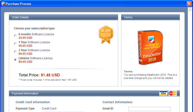 Data Doctor 2010 purchase process window