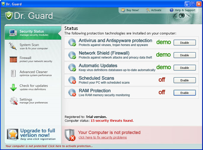 Dr. Guard graphical user interface