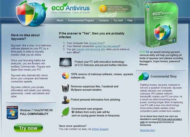 eco-av.com - Eco AntiVirus 2010 home page