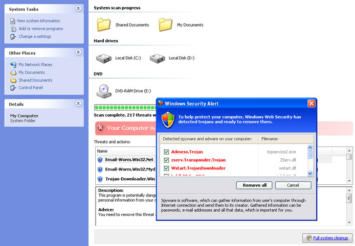 Antispyware Shield Pro fake online scanner