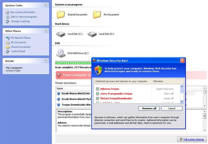 Antispyware Shield Pro fake online scanner