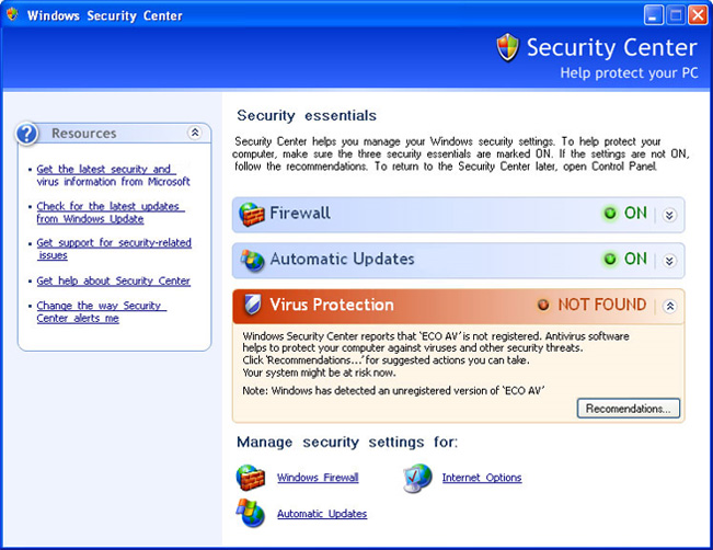 Eco AntiVirus 2010 - fake security center