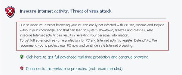 DefendAPc fake insecure internet activity warning