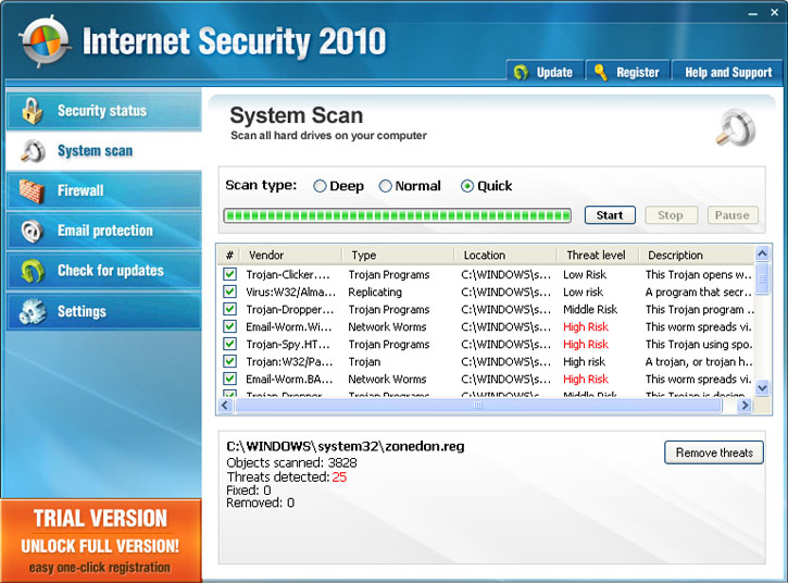 Internet Security 2010 graphical user interface