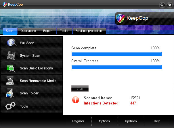 KeepCop graphical user interface