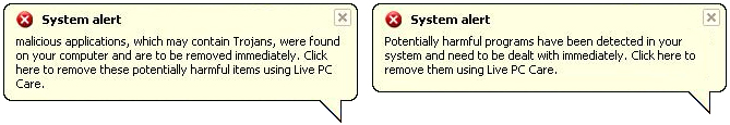 Live PC Care fake system alerts