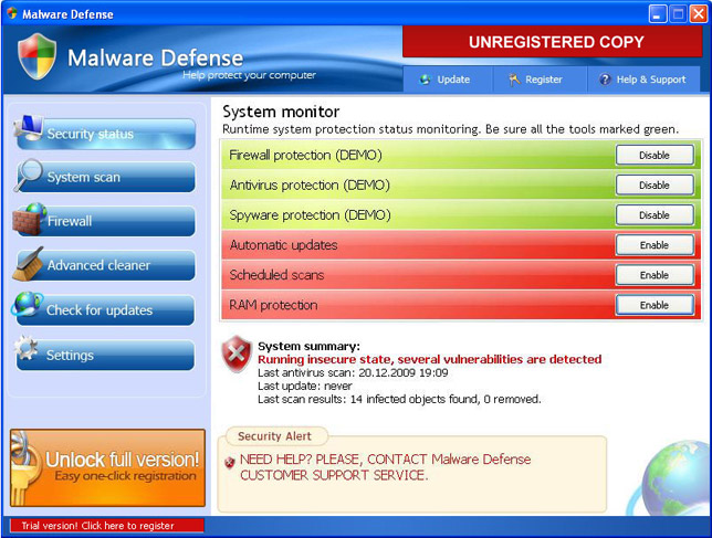 Malware Defense graphical user interface