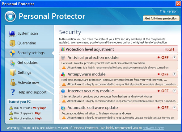 Personal Protector graphical user interface