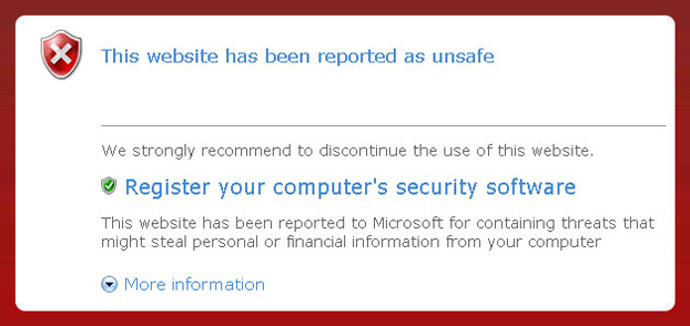 Personal Security - fake IE warning