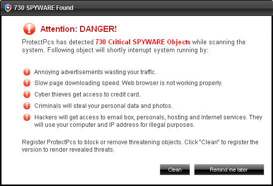 ProtectPcs fake security alerts