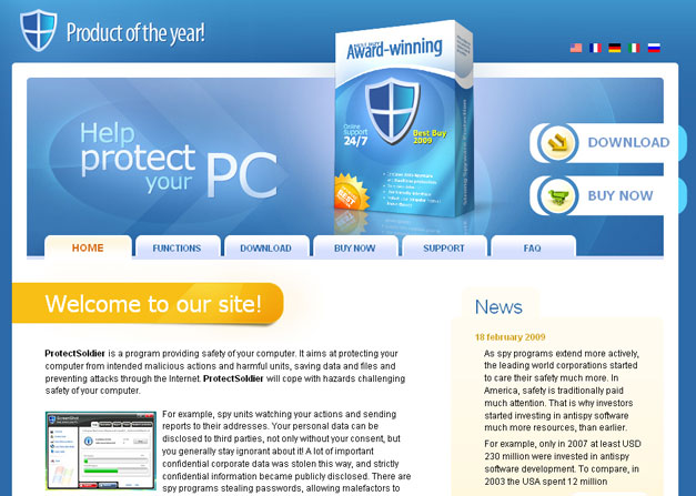 Protectsoldier.com screenshot