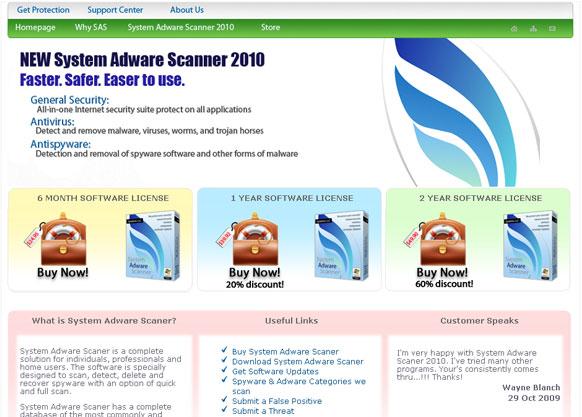 System Adware Scanner 2010 home page - sysadscanner.com